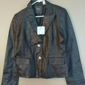 Tex By Max Azria Large Brown Leather Jacket